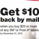 REBATE $10 Back on Post-It Labels