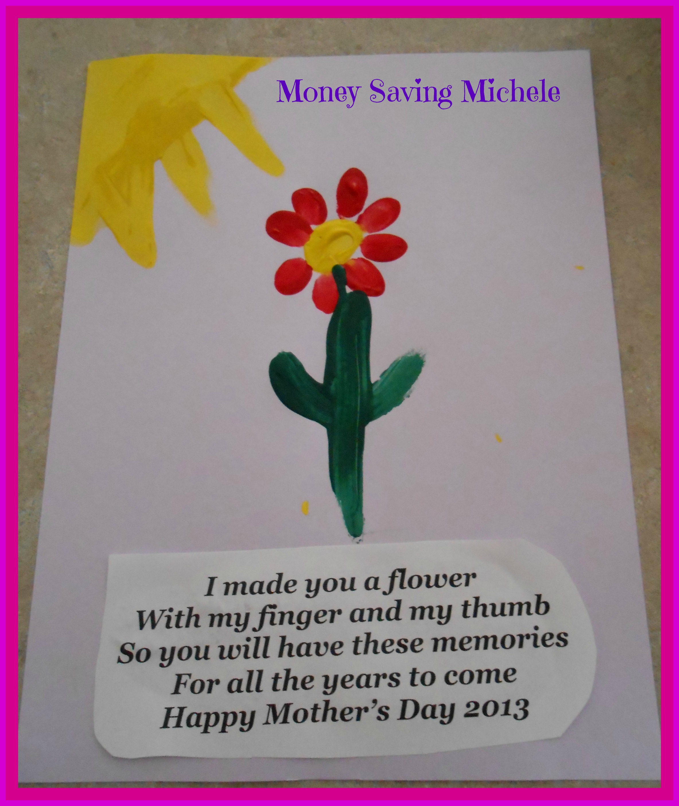 Mothers Day Craft For Kids Fingerprint Flower Money