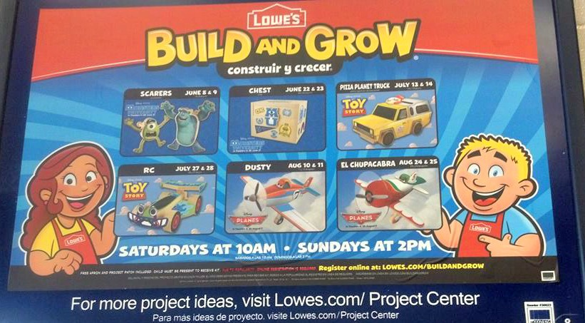 ... the Disney Planes on the Free Lowes Build to Grow Schedule for August