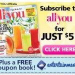 All You Magazine $5 and Free Entertainment Book Promotion! Ends Tomorrow!